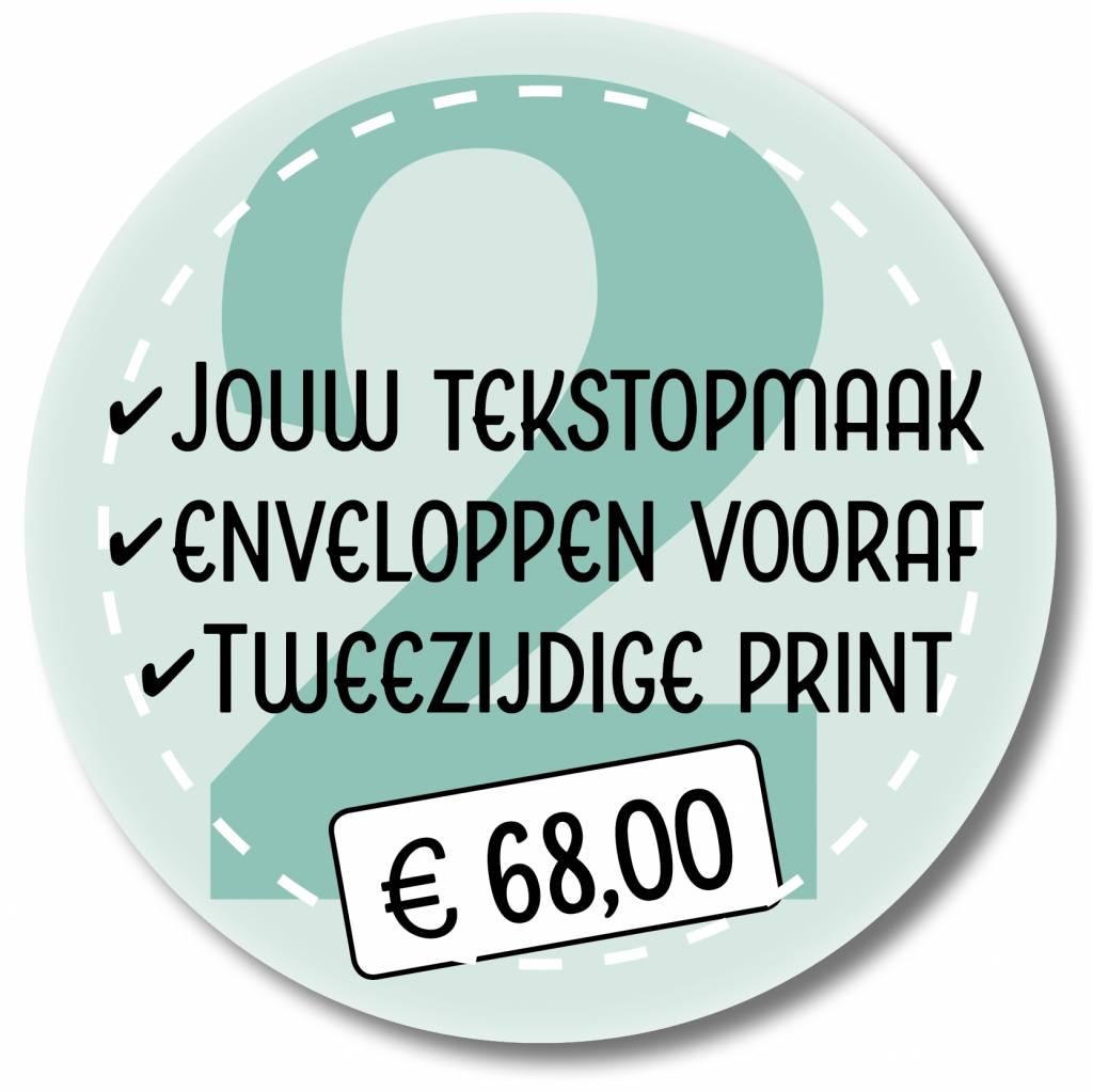Tweezijdige printen eigen tekstopmaak en enveloppen leveren (999022)