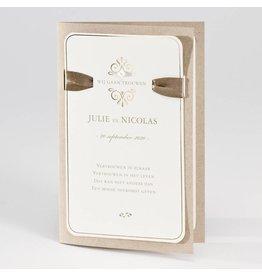 Buromac La Vie en Rose Eco bruine trouwkaart met opplakparel en lint