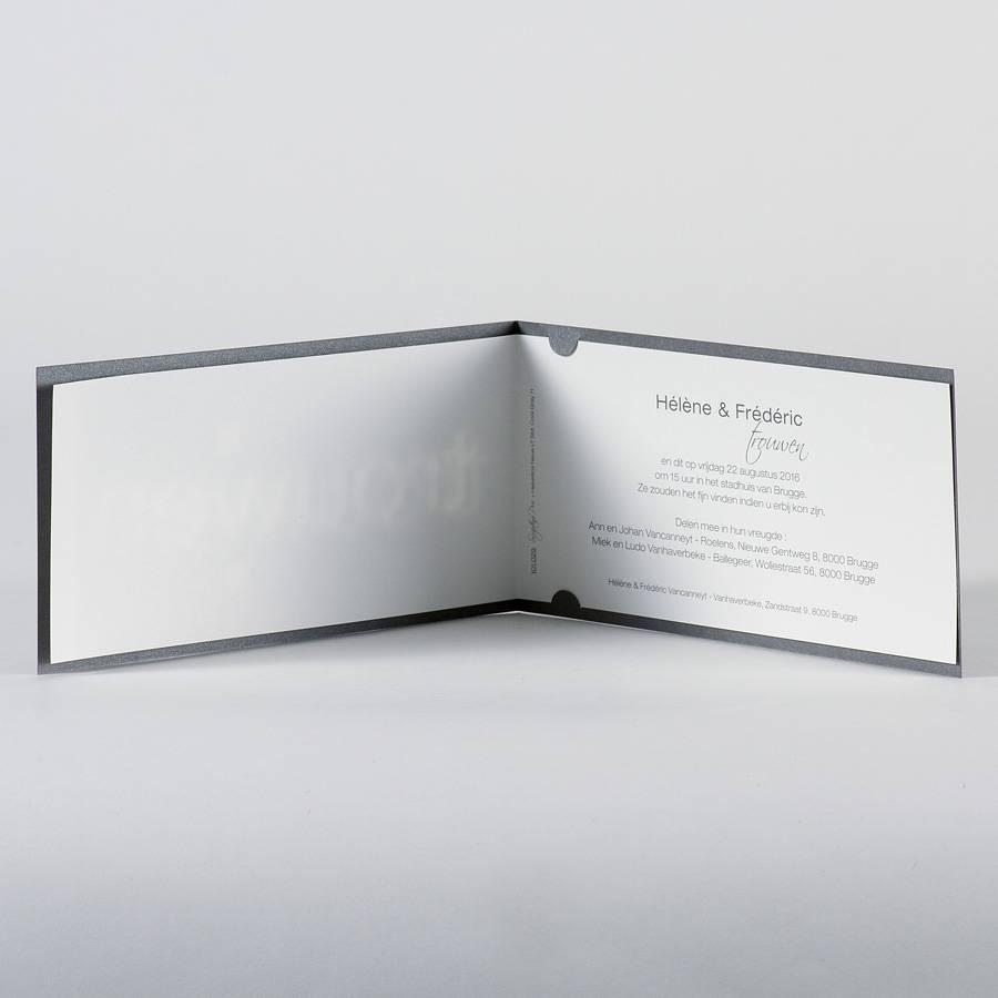 Buromac La Vie en Rose Grijze trouwkaart met wit inlegvel en tekstwij trouwen  (101029)