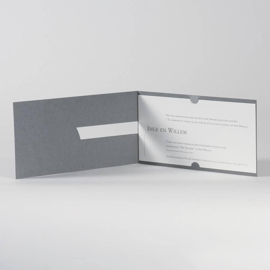 Buromac La Vie en Rose Grijze trouwkaart met wit inlegvel en zilverfolie - Ja wij trouwen  (100110)