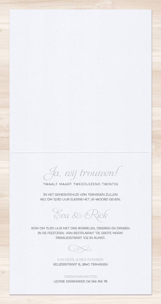 Belarto Yes We Do Trouwkaart - Gracieus in zilver (728029)