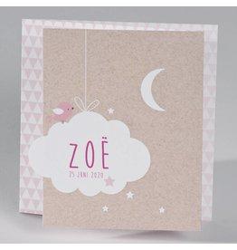 Buromac Baby Folly 2019 Geboortekaart - drieluik fotokaart met kraftlook en wolkje, roze