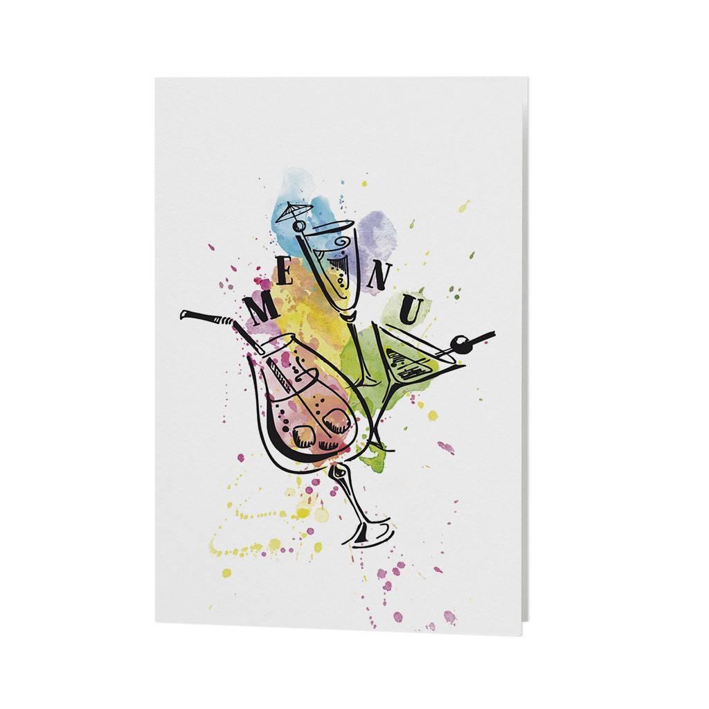 Belarto Jubileum Menukaart bubbels kleurige palet van drankglazen  (786601)