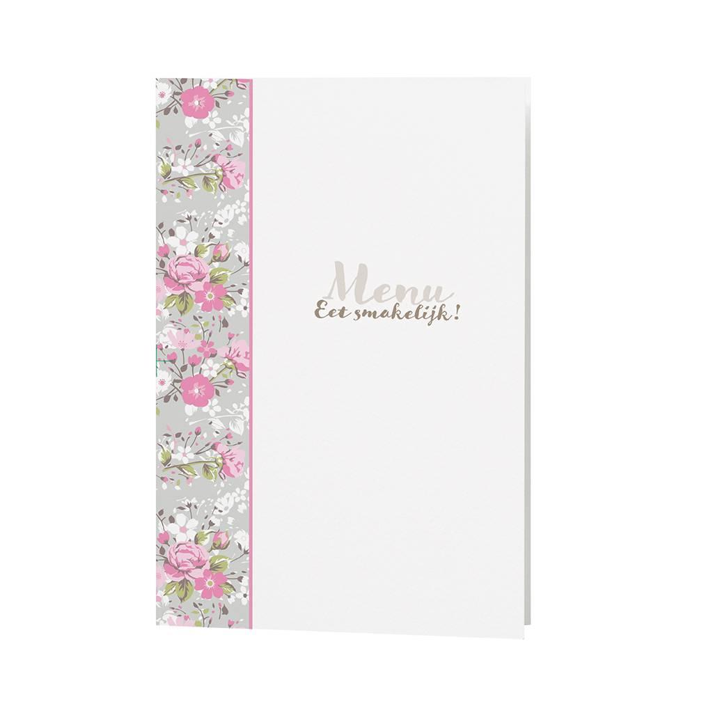 Belarto Bohemian Wedding Menukaart bij trouwkaart met bloemen en wikkel met lintje  (727610)