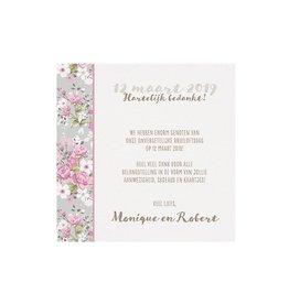 Belarto Bohemian Wedding Save the date bij trouwkaart met bloemen en wikkel met lintje