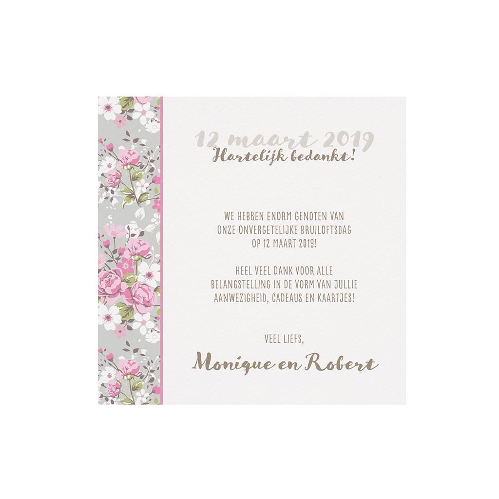 Belarto Bohemian Wedding Save the date bij trouwkaart met bloemen en wikkel met lintje (727510)