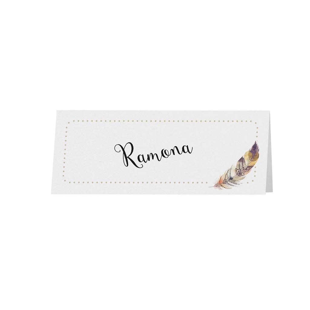 Belarto Bohemian Wedding Tafelkaartje bij moderne trouwkaart in 'Bohemian Style' met veermotief en leder koordje (727705)