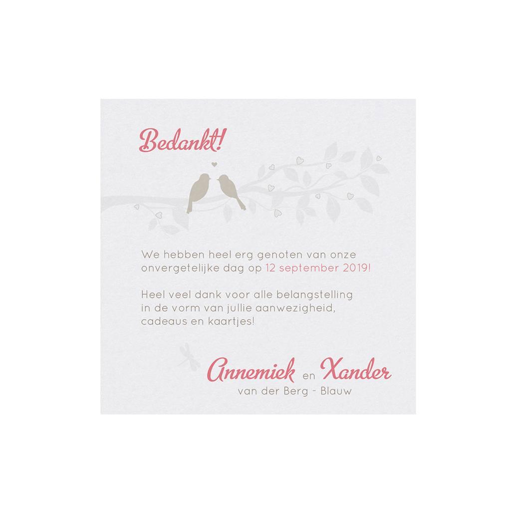 Belarto Bohemian Wedding Bedankkaart bij kaart met gouden vogeltjes en bankje  (727512)