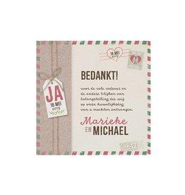 Belarto Bohemian Wedding Bedankkaart bij trouwkaart in hoesje met label en polaroidfoto