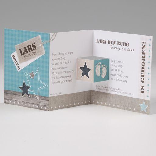 Belarto Baby Dreams & Happy Baby Geboortekaart - drieluik Sterretjes en voetjes (715910)
