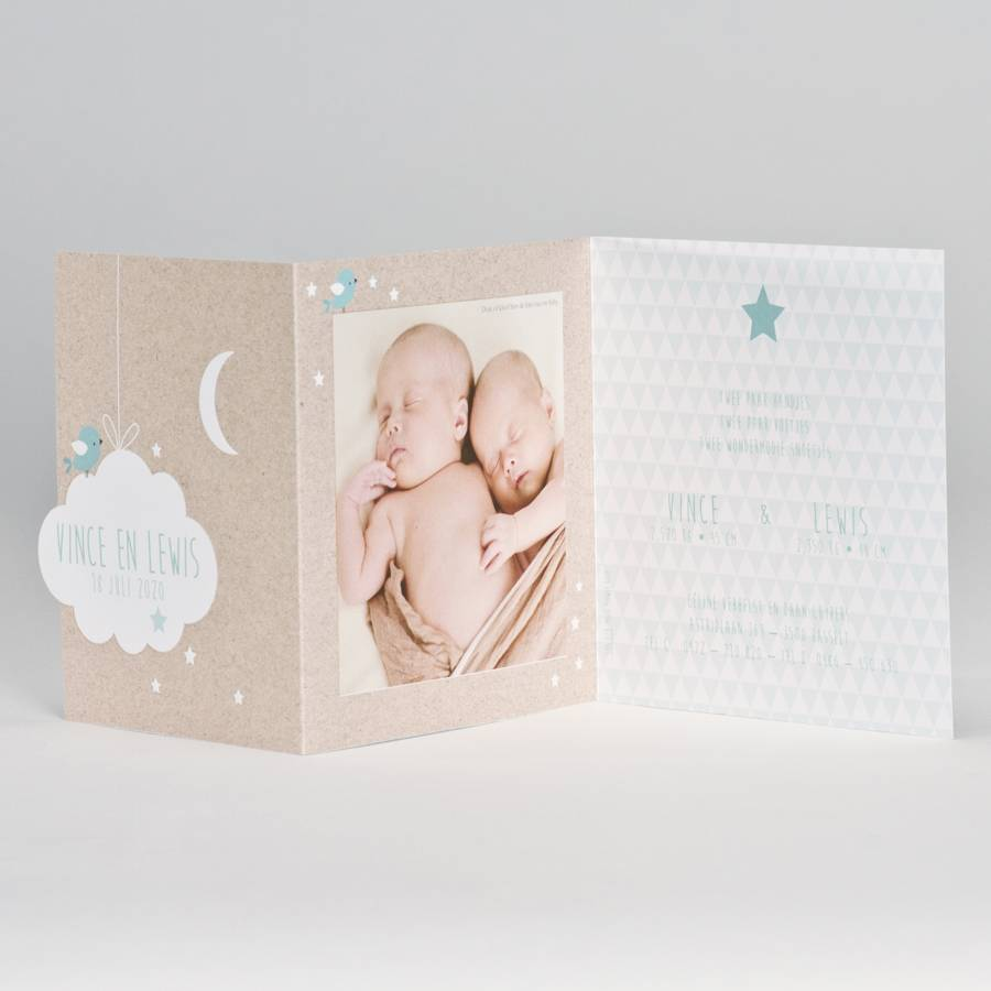 Buromac Baby Folly Geboortekaart - drieluik fotokaart met kraftlook en wolkje, groen (586074)