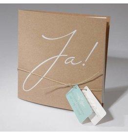 Familycards-Deel je Geluk Trouwkaart Eco met labeljes en touwtje