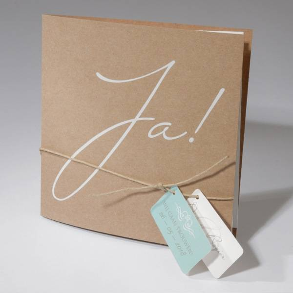 Familycards-Deel je Geluk Trouwkaart Eco met labeljes en touwtje  (621469)