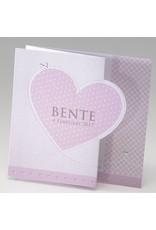 Belarto Baby Dreams & Happy Baby Geboortekaart in zigzag met roze en zilver hartjes (715022)