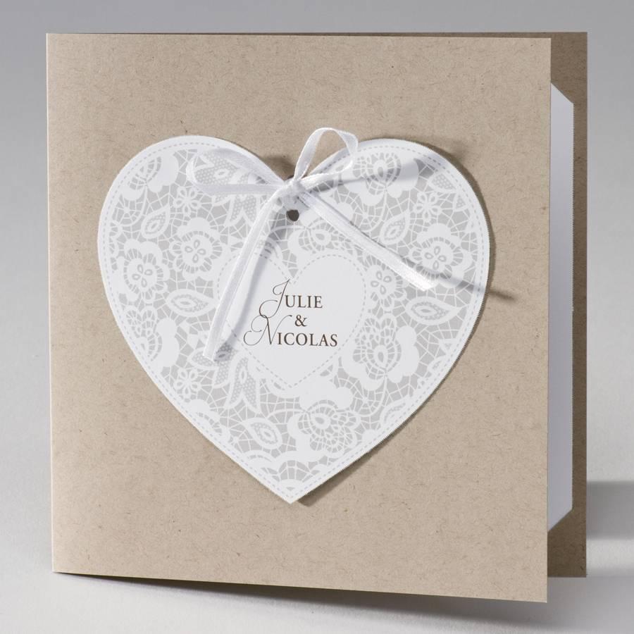 Buromac La Vie en Rose Vierkante eco trouwkaart met hart in kantmotief (106117)