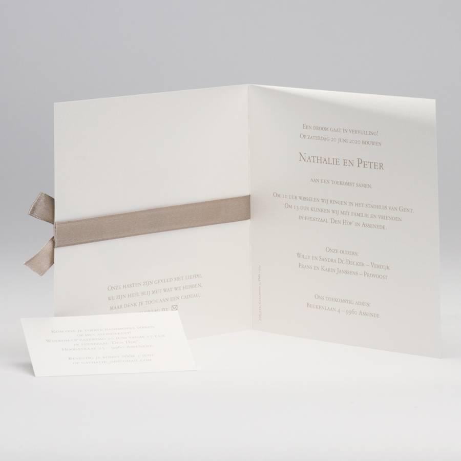 Buromac La Vie en Rose Beige trouwkaart met kantmotief en luxelint (106115)