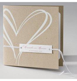 Buromac La Vie en Rose Eco trouwkaart met wit hart