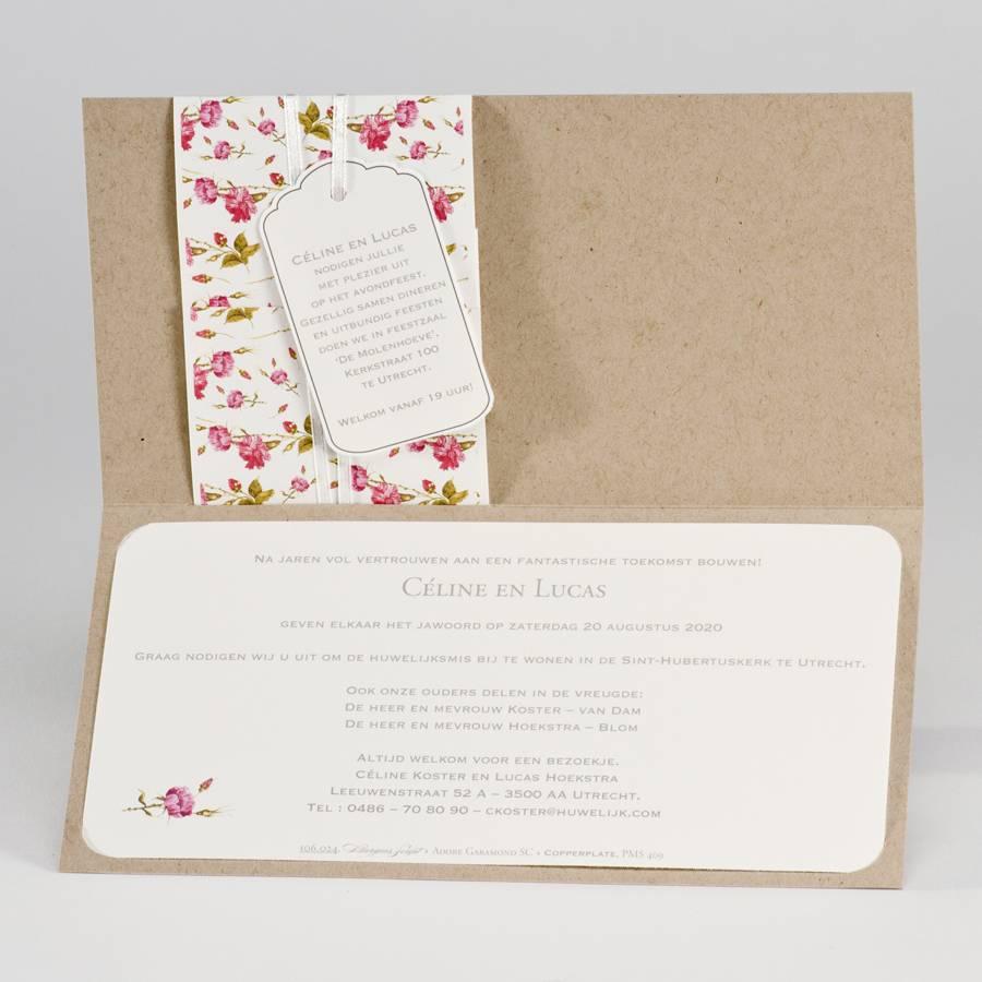 Buromac La Vie en Rose Eco trouwkaart met libertybloemetjes en tag (106024)
