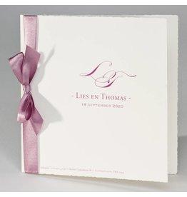 Buromac La Vie en Rose Oud-Hollandse trouwkaart met roze lint