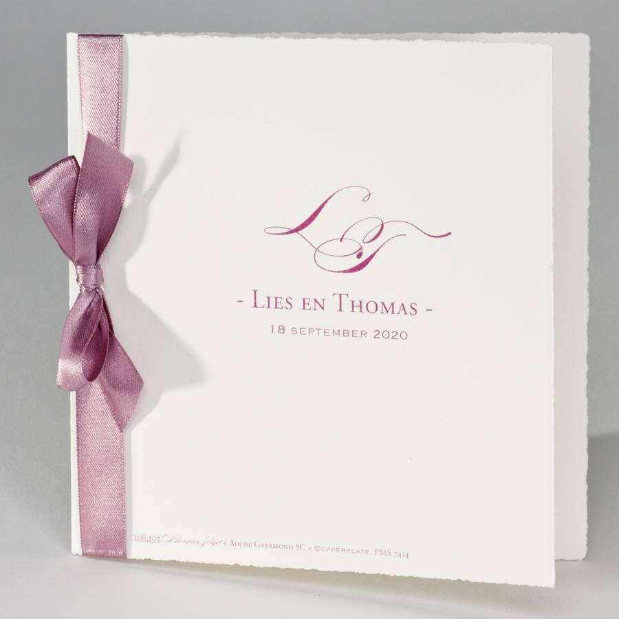 Buromac La Vie en Rose Oud-Hollandse trouwkaart met roze lint (106102)