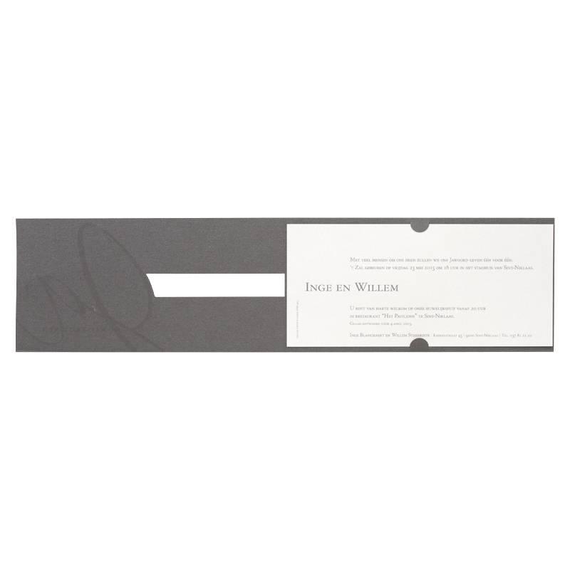 Buromac-Papillons Grijze kaart met wit inlegvel en zilverfolie 'ja wij trouwen' (100110)