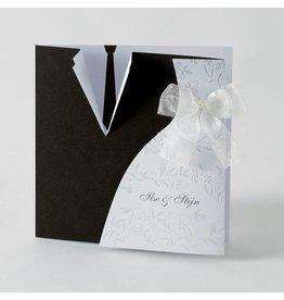 Buromac-Papillons 3-luik kaart met motief van bruidskleed en das