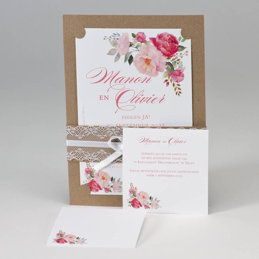 Buromac-Papillons A5 huwelijksaankondiging in kraft met kleurrijke bloemen en bandje in kant (108102)