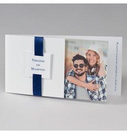 Buromac-Papillons Blanco fotokaart met donkerblauw lint