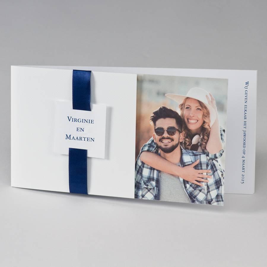 Buromac-Papillons Blanco fotokaart met donkerblauw lint (108035)