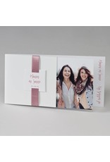 Buromac-Papillons Blanco fotokaart met roze lint (108034)