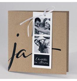 Buromac-Papillons Kraft huwelijksuitnodiging JA met fotostrip
