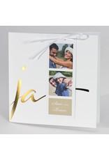 Buromac-Papillons Witte huwelijksaankondiging JA met fotostrip (108910)