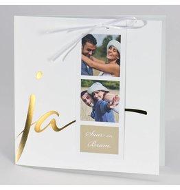 Buromac-Papillons Witte huwelijksaankondiging JA met fotostrip