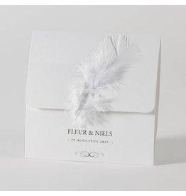 Buromac-Papillons Witte pochette met pluimpje