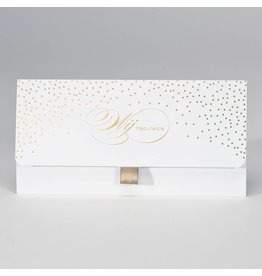 Buromac-Papillons Witte clutch met confetti in goudfolie Wij trouwen