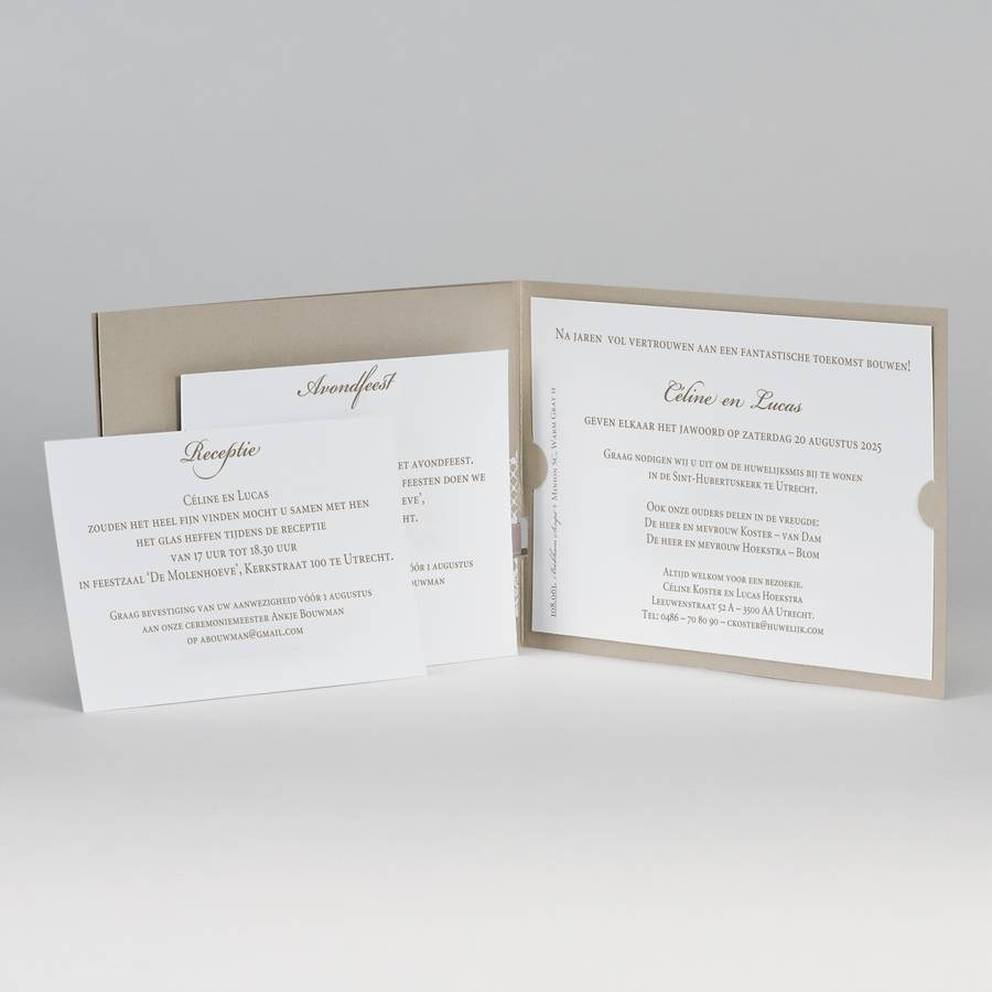 Buromac-Papillons Bruine glinsterende trouwkaart met witte kant (108061)