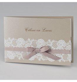 Buromac-Papillons Bruine glinsterende trouwkaart met witte kant