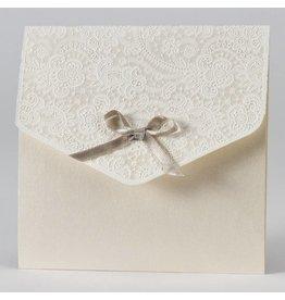 Buromac-Papillons Elegante trouwkaart met kantmotief in flock - beige