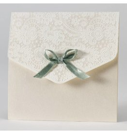 Buromac-Papillons Elegante trouwkaart met kantmotief in flock - groen