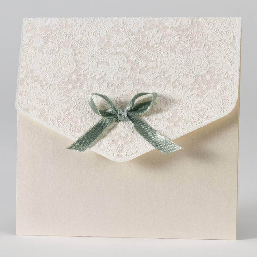 Buromac-Papillons Elegante trouwkaart met kantmotief in flock - groen (108114)