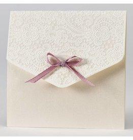 Buromac-Papillons Elegante trouwkaart met kantmotief in flock - oudroze