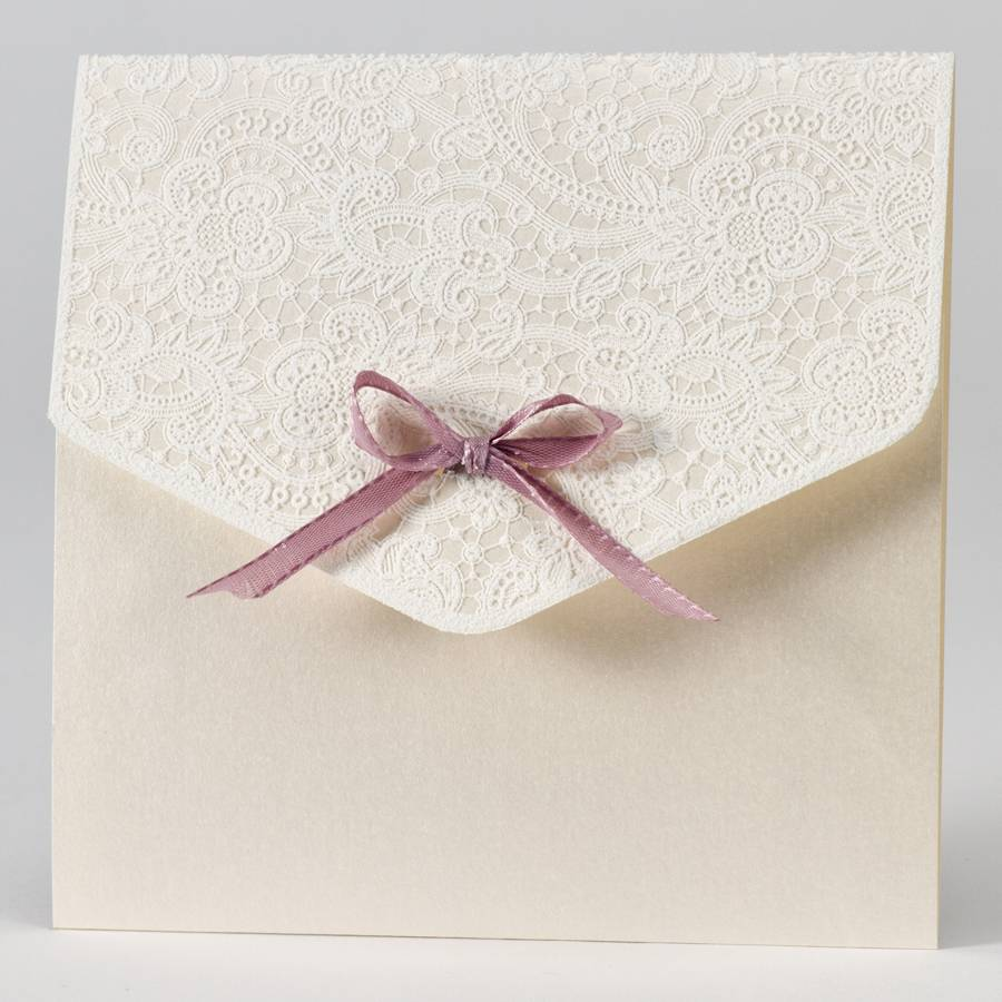 Buromac-Papillons Elegante trouwkaart met kantmotief in flock - oudroze (108115)