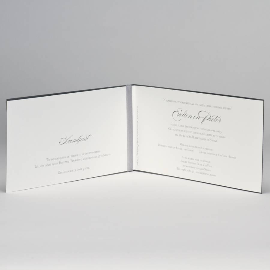 Buromac-Papillons Staalgrijze trouwkaart met kantmotief (108111) - wit