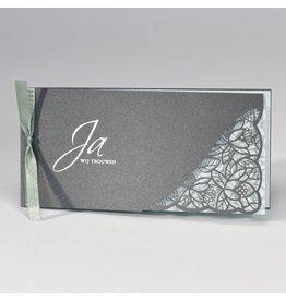 Buromac-Papillons Staalgrijze trouwkaart met kantmotief - mint