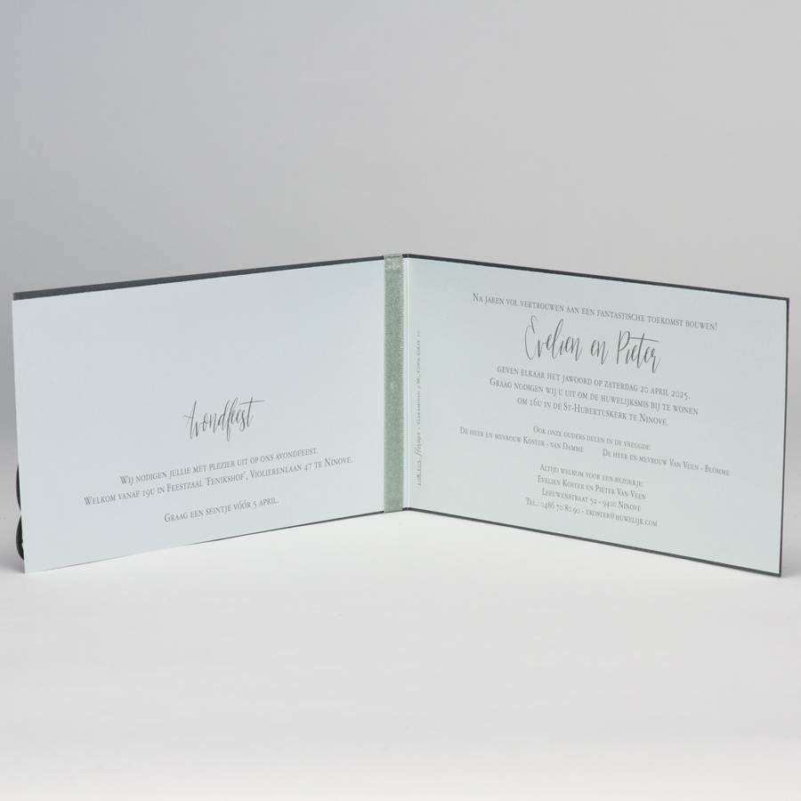 Buromac-Papillons Staalgrijze trouwkaart met kantmotief - mint (108105)