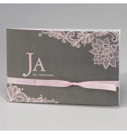 Buromac-Papillons Grijze trouwkaart met roze kantmotief JA WIJ TROUWEN