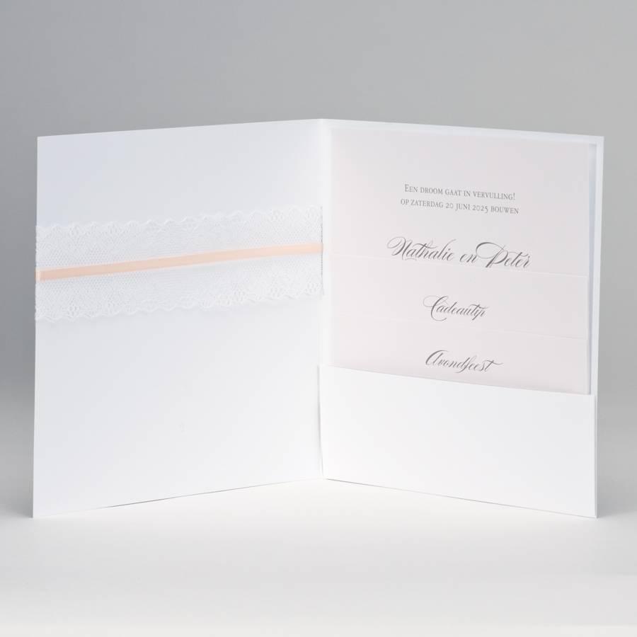 Buromac-Papillons Vierkante trouwkaart met kanten lint JA WIJ TROUWEN - roze (108187)