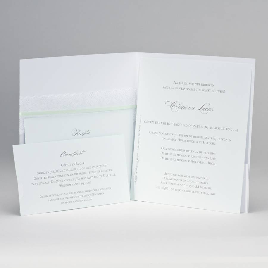 Buromac-Papillons Vierkante trouwkaart met kanten lint JA WIJ TROUWEN - mint (108186)