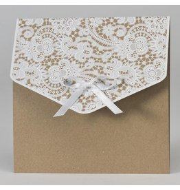 Buromac-Papillons Vierkante bruine kaart met wit kantmotief en strikje