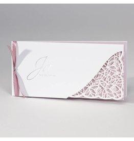 Buromac-Papillons Langwerpige witte trouwkaart met kantmotief - roze